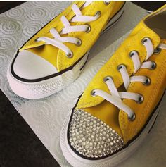 Converse bought from eBay clear crystals used Follow more on Instagram@firewifemay Bling Converse, Converse Style, Clear Crystal, Formal Wear, To My Daughter, Crystals, Sneakers, How To Wear, Stuff To Buy