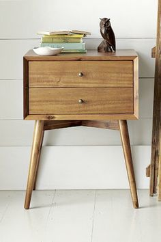 Inspired by mid-century design, the Mid-Century Nightstand borrows its slim legs, angled face and understated retro details from iconic and furniture silhouettes. 60s Furniture, Mid Century Furniture, Furniture Design, Furniture Websites, Furniture Stores, Rustic Furniture, Contemporary Furniture, Antique Furniture, Office Furniture
