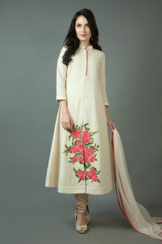 Banarasi cotton churidar kurta with resham work