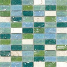 Elida Ceramica�Minty Brick Glass Mosaic Square Wall Tile (Common: 12-in x 12-in; Actual: 11.75-in x 11.75-in)