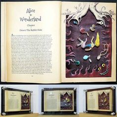 """An oil painted and ink illustrated cut-out from an old book, forming a layered and 3D image. The image is my interpretation of a scene from the 1865 Lewis Carroll novel, Alice's Adventures in Wonderland. I do not own the rights to the novel and I do not intend to sell the piece, it can be considered """"fanart"""". see more @ the mind is right http://themindisright.com/Project/Down-The-Rabbit-Hole"""