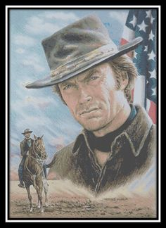 Recent work i did for a cross stitch pattern Clint Eastwood-American Legend Crossstitch pattern. Click to go to our website