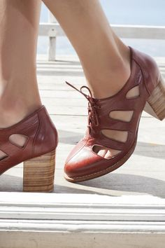leather oxfords with chunky heel - ELF