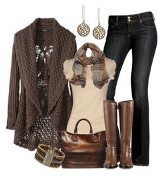 Brown Crocheted Cardigan....Love!! by smores1165 on Polyvore featuring polyvore, fashion, style, Fornarina, Cole Haan, Dorothy Perkins, La Corza by Sabo Designs, Mulberry, Paige Denim and Gucci
