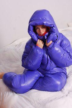 Custom Goose Down Suit Medium Blue Puffer
