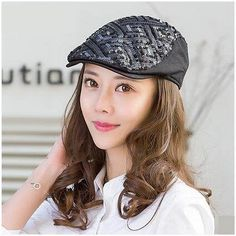 Geometric sequins flat cap for women UV protection sun hat 618a07e31e6c