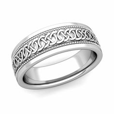 Celtic Knot Wedding Band in Platinum Milgrain Comfort Fit Ring, This milgrain Celtic wedding band showcases intricate and endless Celtic knots going around the entire platinum comfort fit wedding band. Mens Wedding Rings Platinum, White Gold Wedding Bands, Beautiful Wedding Rings, Celtic Wedding Bands, Wedding Ring Bands, Unique Mens Rings, Rings For Men, Celtic Rings, Celtic Knots