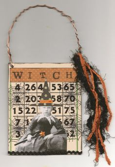 HALLOWEEN WITCH Altered Bingo Card Altered Art by KimPennington, $8.00
