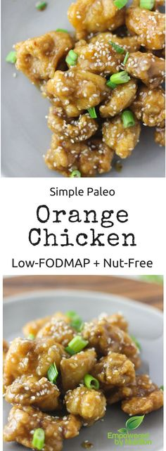 Healthy homemade gluten-free Chinese Orange Chicken! Low-FODMAP and Paleo! Sticky sweet sauce with pan fried chicken is so filling!