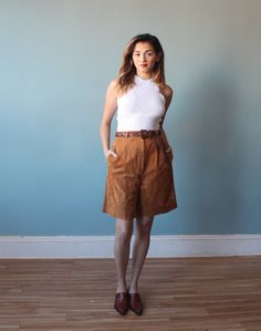 c461515db10e2 Camel suede shorts   high waisted suede shorts   1980s   medium