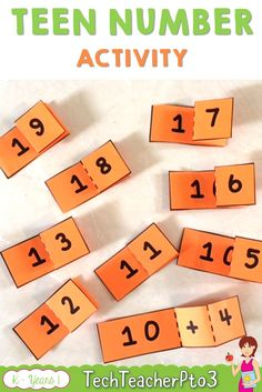 Teen number activities for kinder and grade 1 students. Easy to teach, these flip outs are so easy to put together and students love to show what they know with these printables. Perfect from primary school students. #math #number #teacherspayteachers
