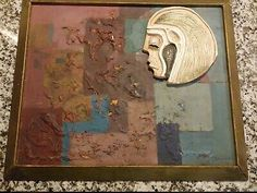 Amazing abstract painting with texture and ceramic head. This is my favorite piece of art I own but we are down sizing. The amazing ghost picture s on the back. So the back has 2 portraits painted on the back and covered up. Back Painting, Oil Painting Abstract, Texture Painting, Oil Paint On Wood, Painting On Wood, Ebay Paintings, Ghost Pictures, South African Artists, Painted Signs