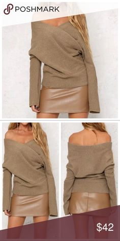 Dark Camel Off Shoulder Faux Wrap Sweater $48 Dark Camel Off Shoulder Faux Wrap Sweater. 100% acrylic. Price is firm unless bundled. One Size: Bust 32-40 Length 26 inches Haute Ellie Sweaters V-Necks
