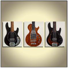 Bass guitars Guitar painting Modern Music Art Gift for musician Original guitar painting on canvas