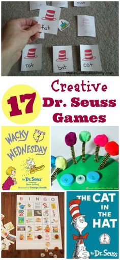 Seuss and Cat in the Hat printable games -- BINGO, Wacky Wednesday, literacy activities. Fun literacy activities and perfect for Dr. Suess Week and Read Across America celebrations in preschool, kindergarten and elementary classrooms! Dr Seuss Activities, Classroom Games, Activity Games, Kindergarten Activities, Activities For Kids, Calm Classroom, Sequencing Activities, Preschool Themes, Preschool Lessons