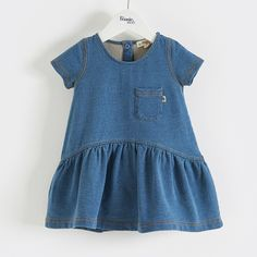 BETTI Cotton Indigo Baby and Girls Dress.Wide a line dress with short sleeve and curved waist seam, super comfy, perfect for twirling, swirling or playing in the park.