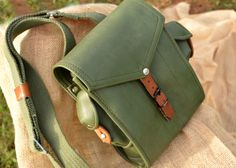 Green leather military bag!