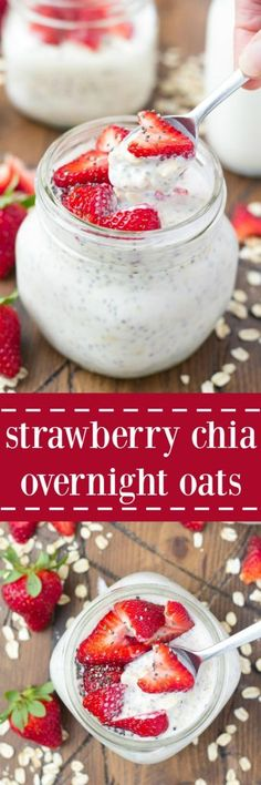 High protein Strawberry Chia Overnight Oatmeal will keep you feeling full while tasting totally amazing! High protein Strawberry Chia Overnight Oatmeal will keep you feeling full while tasting totally amazing! Healthy Desayunos, Healthy Snacks, Healthy Eating, Clean Eating, Healthy Yogurt, Vegan Yogurt, Healthy Breakfasts, Chia Overnight Oats, Strawberry Overnight Oats