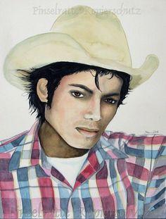 Michael Jackson - A Small Dream Of Freedom - absolutes Unikat, Porträt, Aquarell