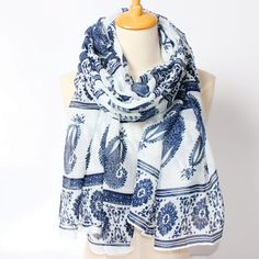 >> Click to Buy << 2017 New Arrival Winter Fashion Women High Quality Blue and White Porcelain Big cashew and elephant Tailand National Scarf #Affiliate