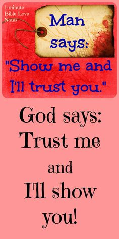"""""""Trust in the Lord with all your heart and lean not on your own understanding"""" (Proverbs 3:5). ~ Double click image to read a 1-minute devotion about this."""