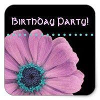 Pink Blue Daisy Polka Dot Birthday Party Sticker from Zazzle.com.  #birthday #party #celebrate #celebration #invite #invitation #envelope #custom #customize #personalize #stamps #stickers