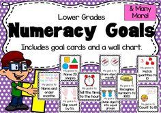 Maths (Numeracy) Goals. Includes 73 goal cards and 6 wall chart variations.