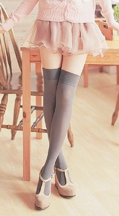 over the knee socks,nude shoes, super kawai japanese fashion