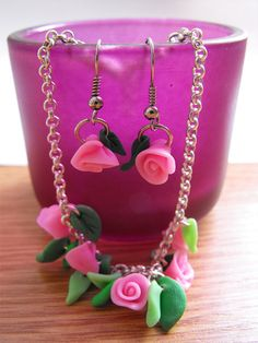 Adorable bracelet with handmade polymer clay rose and leaves :) + cute handmade earrings!  Each rose and leaf formed by hand without any molds.