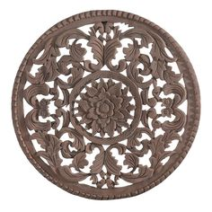 Round Wood Wall Art square flower wooden wall art - exotic traveller - temple