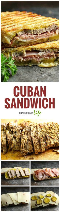 This Cuban Sandwich is packed with flavor -- a mouthwatering combination of Cuban pork, ham, swiss cheese, and pickles, grilled to golden perfection!