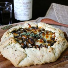 Mushroom, onion, thyme, and cheese galette