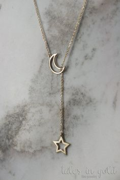 Star Necklace Moon Necklace Gold Necklace 14 Karat by TalesInGold