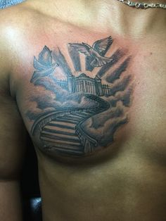Stairway to heaven chest tattoo