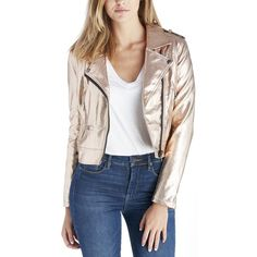 Blanknyc Moto Jacket ($98) ❤ liked on Polyvore featuring outerwear, jackets, rose gold, blanknyc jacket, rose gold jacket, biker jacket, motorcycle jacket and blanknyc