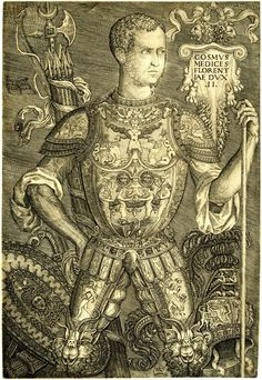 Portrait of Cosimo de' Medici standing in three-quarter length, wearing highly decorated armour, a shield to the left and a quiver of arrows behind him, after Baccio Bandinelli. 1544  Engraving