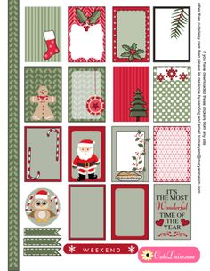 FREE Printable Christmas Stickers for Happy Planner and ECLP by Cutedaisy