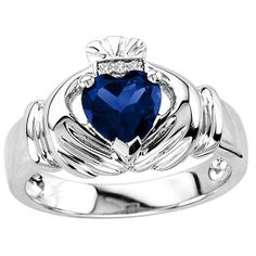 Men's Sapphire Claddagh Ring With 3 Genuine Diamonds In Sterling Silver