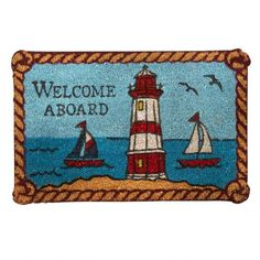 "One of my favorite discoveries at ChristmasTreeShops.com: ""Welcome Aboard"" Lighthouse Coir Door Mat"