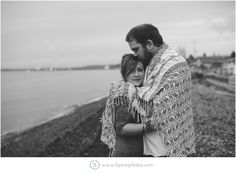 Black & White. Wrapped in a Blanket on the Beach.  Beach Engagement Session. Bellingham Wedding Photographer. Seattle Wedding Photographer. Nautical Engagement. B. jones Photography. www.bjonesphotos.com