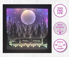Holiday's are Coming - 3D Paper Cut Template Light Box SVG Digital Download Files by Jumbleink on Etsy Graphic Design Pattern, Graphic Patterns, Cabin Christmas, Paper Light, Scan And Cut, Frame Template, Shadow Box Frames, Color Effect, 3d Paper