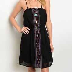 Arriving soon! Aqua/pink/black fully lined dress! Boho embroidered dress with stunning color contrast- simple and elegant- easy to wear! Beautiful! Dresses