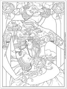 Girl With Tattoo Free Adults Coloring Pages