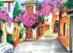 Blossom, Provence, watercolour, crayon and pastel. A3.