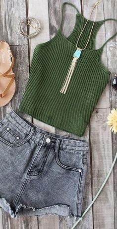 Ribbed Crop Top - Trendslove