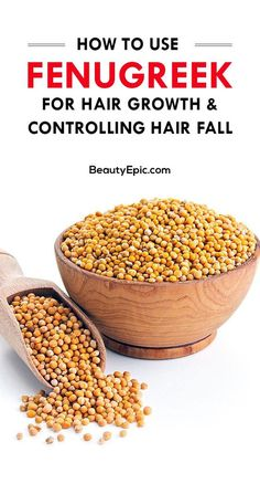 Hair Remedies How to Use Methi (Fenugreek) for Hair Growth and Controlling Hair Fall - Methi contains various vitamins, minerals which are beneficial for overall health and hair. Here we explain some benefits and uses of methi for hair Hair Remedies For Growth, Hair Growth Tips, Hair Loss Remedies, Natural Hair Growth, Hair Care Tips, Natural Hair Styles, Natural Skin, Natural Healing, Fenugreek For Hair