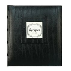 Custom recipe storage in classic black, features top-stitched genuine bonded leather with window frames for embossed letter inserts that slip in easily for instant personalization. CR Gibson's Pocket Page Recipe Book is the perfect place to organize and store favorite recipes. 20 PVC-free pocket page sheets hold 40 4-inch x 6-inch decorated recipe cards and are easy to wipe clean; 12 tabbed decorated divider pages. Book has 3-ring binder construc...