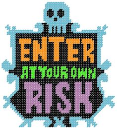 Enter At Your Own Risk Plastic Canvas Pattern by PCDesignz on Etsy