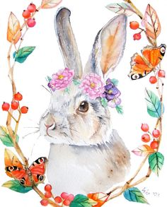 ooak-Original Rabbit and Pansy Illustration Art 8 x 10 by asho