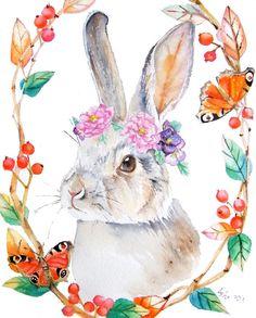 ooak-Original Rabbit and Pansy Illustration Art 8 x 10